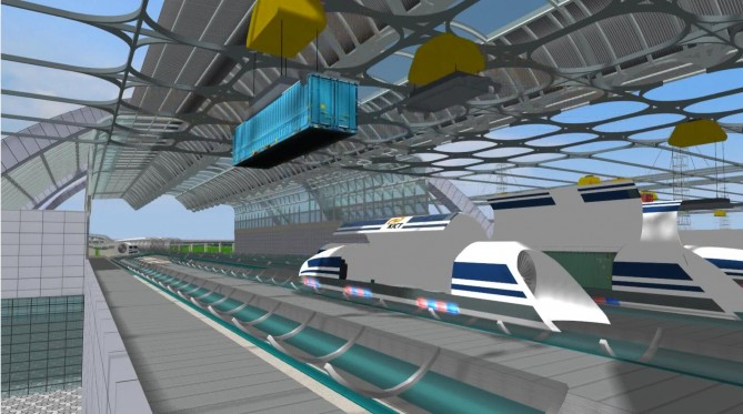 하이퍼튜브의 첫 단계는 물류 운송이 될 전망이다. 여기서 안전성을 검증한 뒤 승객 운송에 나선다. - 한국건설기술연구원 제공